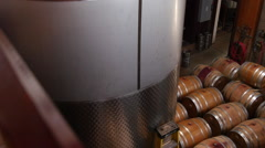 Panorama shot of winery with wine barrels Stock Footage