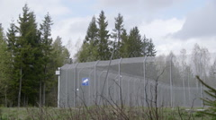 Camp refugee at Trandum Norway view of surveillance camera Stock Footage