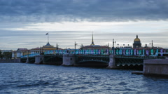Russia, St Petersburg, Palace Bridge, Cathedral - T/Lapse - stock footage