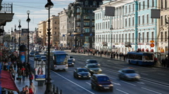 Russia, St Petersburg, busy Nevsky Prospekt - T/Lapse - stock footage