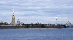 Russia, St Petersburg, Neva riverside - Time lapse - stock footage