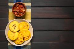 Colombian Arepa with Hogao Sauce Stock Photos