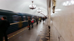 Russia, St Petersburg, Metro station platform - T/lapse - stock footage