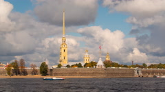Russia, St Petersburg, Fortress on Neva riverside - T/L - stock footage