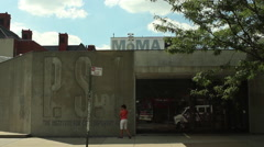 MoMA PS1 exteriors with signage Stock Footage