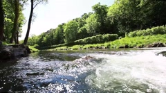 Stream in green forest,natural water background,health and meditation background Stock Footage