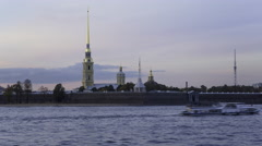 Russia, St Petersburg, Peter and Paul Fortress, Neva riverside T/L - stock footage