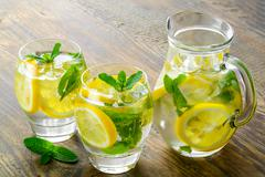 Fresh water with lemon, mint and cucumber Stock Photos