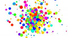 Fountain of multicolored Dots on white background Stock Footage