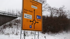 Autobahn highway in winter Stock Footage