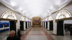 Russia, St Petersburg, Metro station platform - T/Lapse Stock Footage