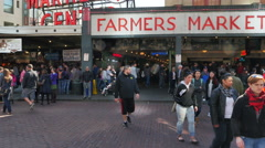 Farmers market weekend crowds shopping - 4K UHD 0164 Stock Footage