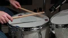 Drummer plays snare drum Stock Footage