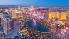 Aerial view of Las Vegas Strip skyline, sunset, night city. 4K UHD Timelapse Stock Footage