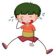 Boy crying - stock illustration