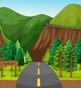 Road and mountain - stock illustration