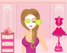 Cute girl applying moisturizer in elegant dressing room Stock Illustration
