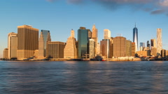 Skyscrapers of Manhattan, East river, New York, United States of America - stock footage