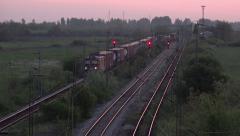 Cargo Train Transportation on Railways Stock Footage