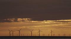 Offshore wind turbines, Colwyn Bay Stock Footage