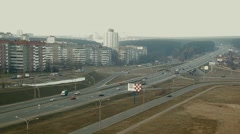 Panoramic view of the ring road of the city of Minsk from a great height Stock Footage