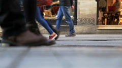 Crowd of people walking in the Istiklal street / Taksim / Istanbul / April / 201 Stock Footage