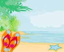 Flip-flops and seashell on the beach Stock Illustration