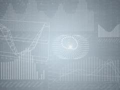 Abstract grey background with graphical charts - stock illustration