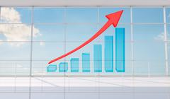 Graphical chart with arrow rising up Stock Illustration