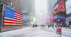 Times Square winter snow, 4K DCI Stock Footage