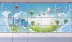 Interior with window view on cityscape Stock Illustration