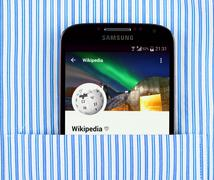 Wikipedia app on the Samsung galaxy display - stock illustration