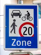 traffic signs encounter zone - stock photo
