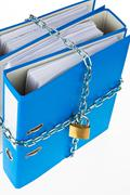 Stock Photo of closed file folder with chain