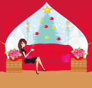 Girl drinking coffee on Christmas morning Stock Illustration