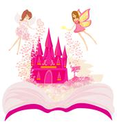 Magic world of tales, fairy castle appearing from the book Stock Illustration