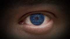Cyborg. The code in the eyes. - stock footage
