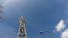Cellphone telecommunication tower time lapse 1080p Stock Footage