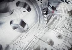 Stock Illustration of Watchwork wheels with drawing stuff and calculator