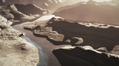 Aerial Shot of a Rocky Canyon and a Lake 3D Animation 3 stylized long version Stock Footage