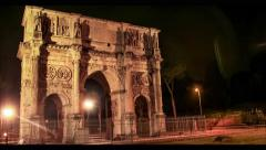 Night Summer Ancient Arch Hyperlapse Architecture Art City History Italy Rome Stock Footage