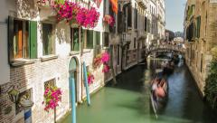 Water Love House Vintage Summer Nature Sun Art Italy Venice Gondola Canal Stock Footage
