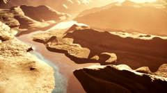 Aerial Shot of a Rocky Canyon and a Lake 3D Animation 5 stylized Stock Footage