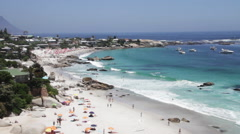 Cape Town beach with tourists - stock footage