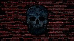 Concept of computer security. The skull of the hexadecimal code - stock footage