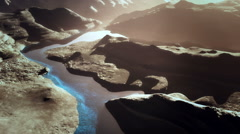 Aerial Shot of a Rocky Canyon and a Lake 3D Animation 13 stylized Stock Footage