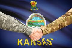 Stock Illustration of Soldiers handshake and US state flag - Kansas
