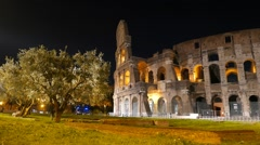 Entrance to the Colosseo. Night. Rome, Italy - stock footage
