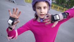 Portrait of a sportive child with helmet and protective pads Stock Footage