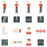 Fracture Bone Flat Icons Set Stock Illustration